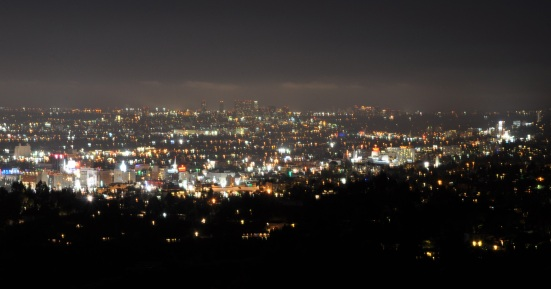 downtown Los Angeles Hollywood skyline night