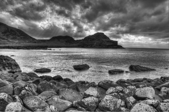 This view is from atop the Giant's Causeway, looking west
